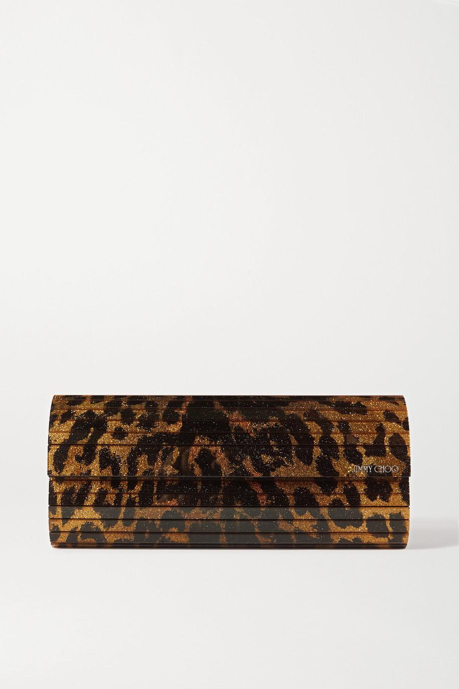 Jimmy Choo Sweetie Clutch aus Acryl mit Leopardenprint in Glitter-Optik