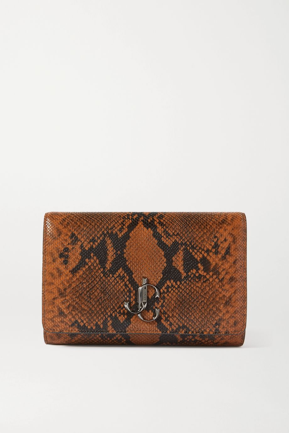 Jimmy Choo Varenne snake-effect leather clutch