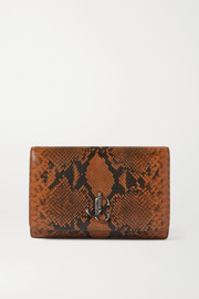 Jimmy Choo Varenne snake-effect leather clutch