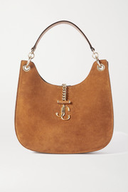 Jimmy Choo Varenne medium leather-trimmed suede shoulder bag