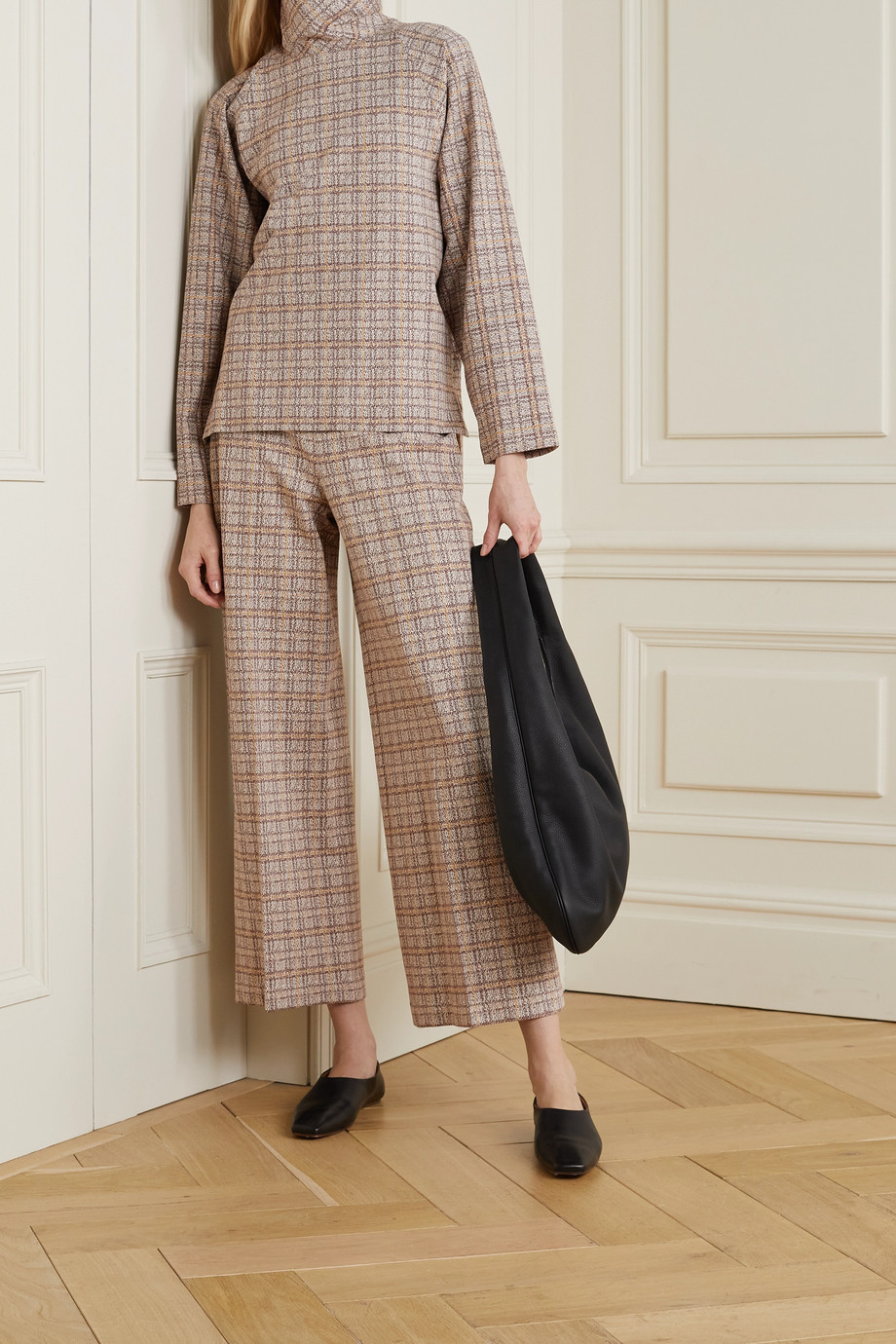 Rosetta Getty Cropped checked stretch-ponte straight-leg pants