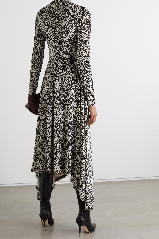 Rosetta Getty Asymmetric twist-front floral-print stretch-velvet dress