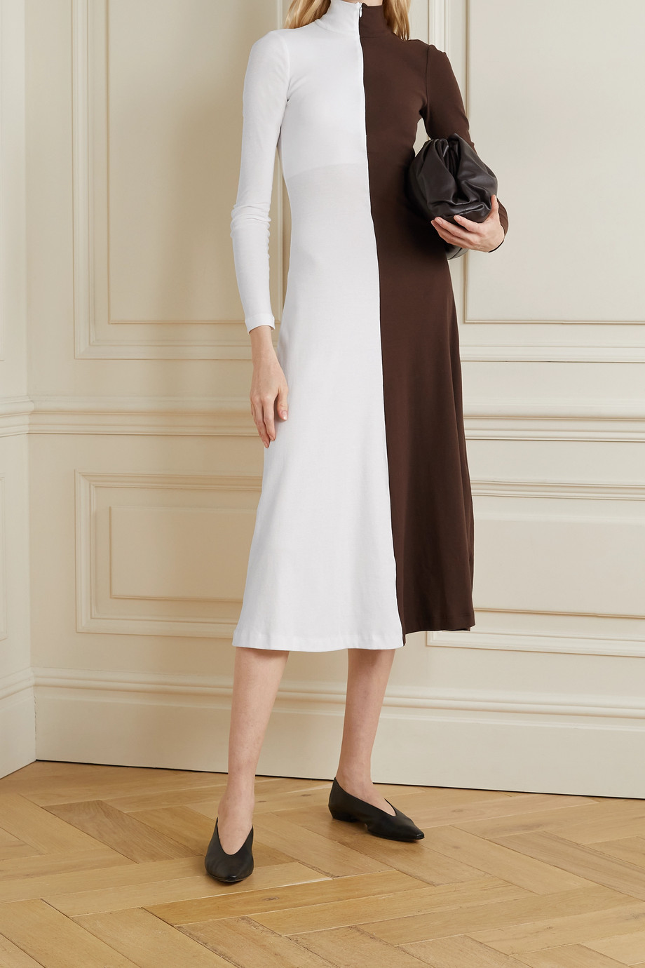 Rosetta Getty 双色纯棉平纹布高领中长连衣裙