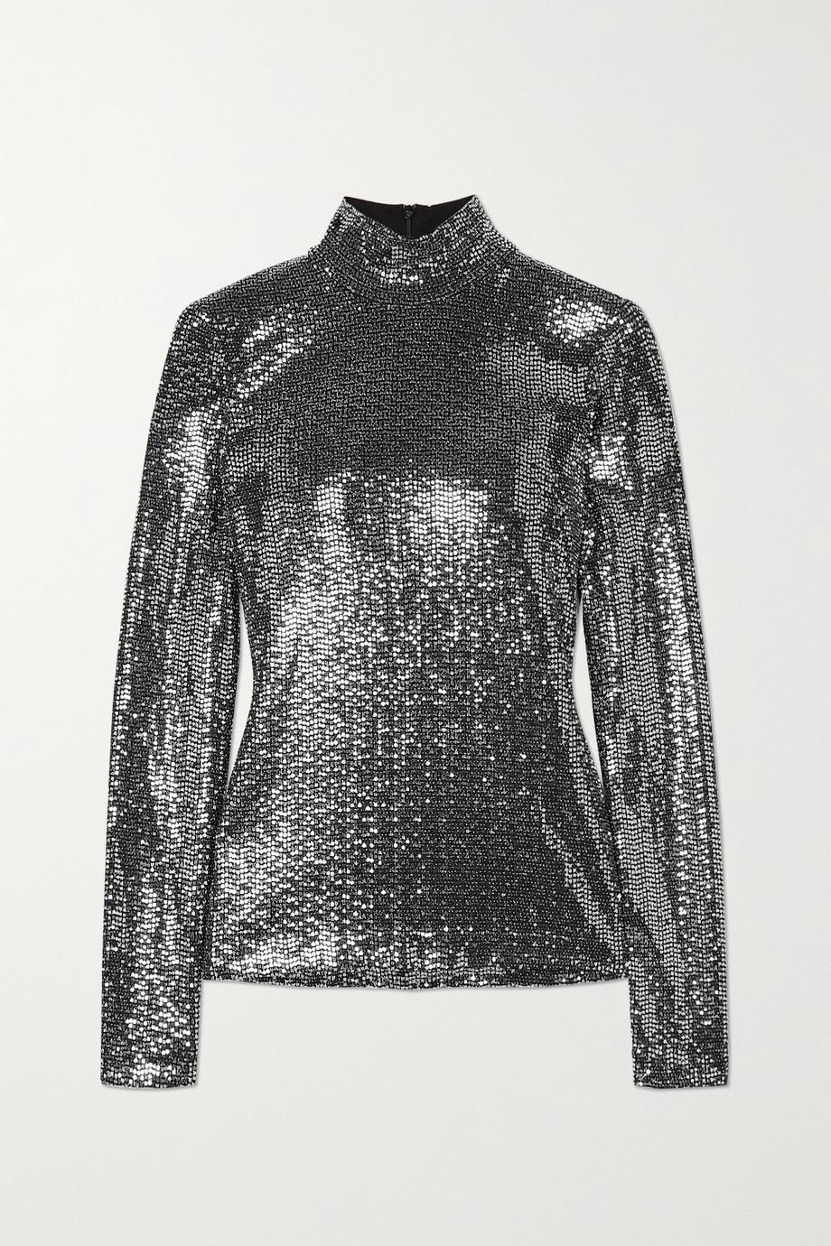 Rosetta Getty Paillette-embellished jersey turtleneck top
