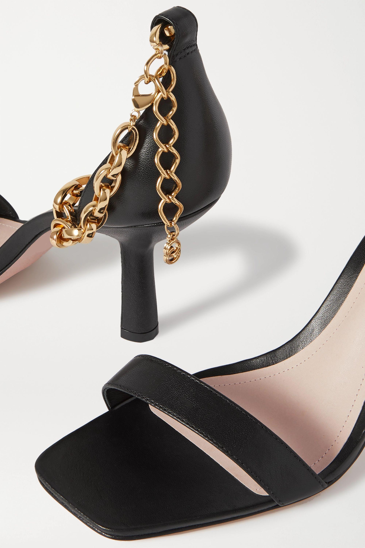 Porte & Paire 链条缀饰皮革凉鞋