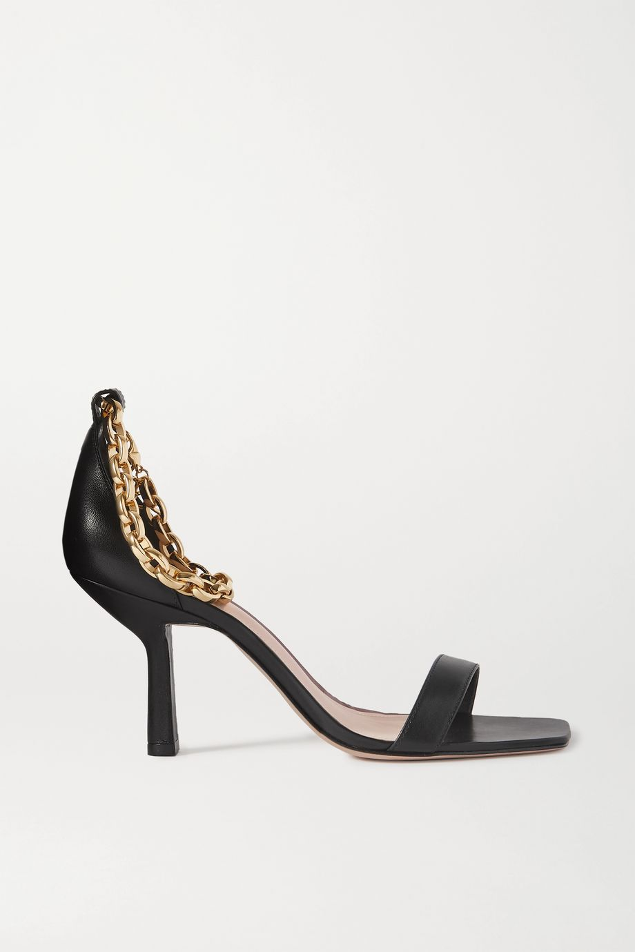 Porte & Paire Chain-embellished leather sandals