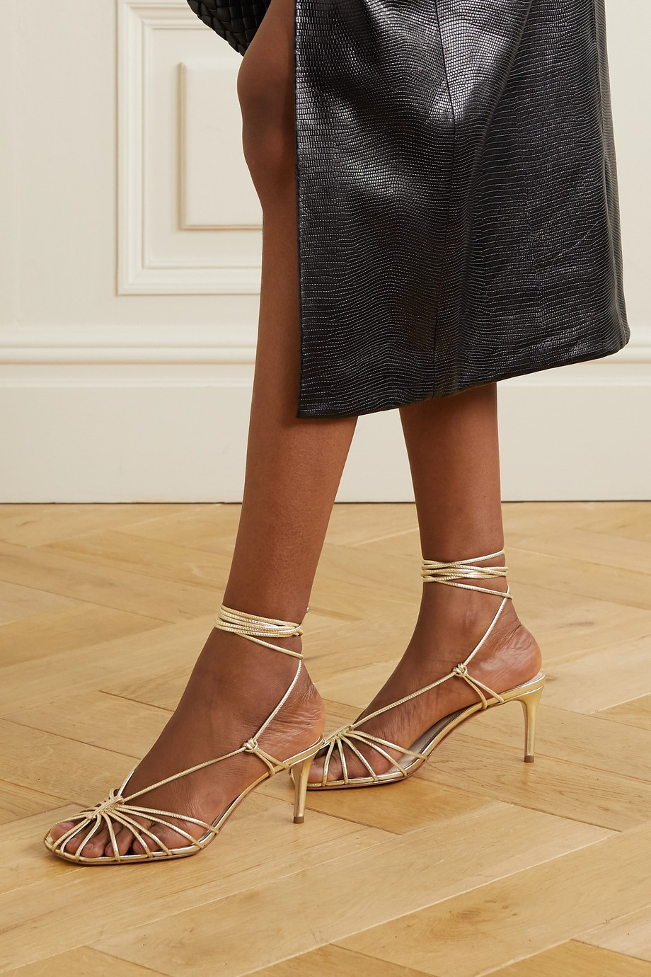 Porte & Paire Metallic leather sandals