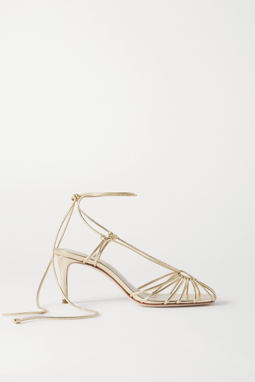 Porte & Paire Metallic leather sandals