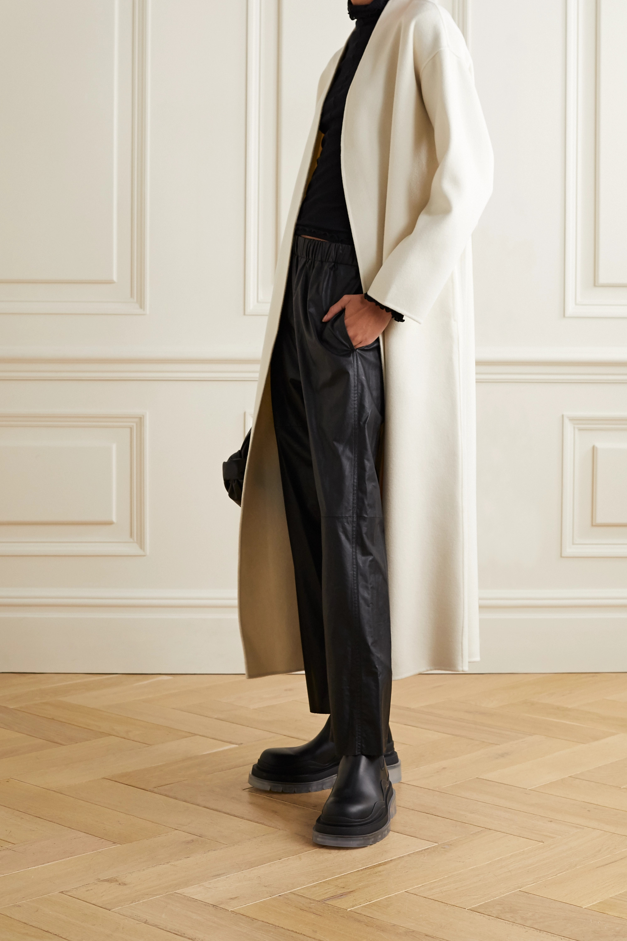 Cream Hunter Belted Wool And Cashmere Blend Coat Anine Bing Net A Porter