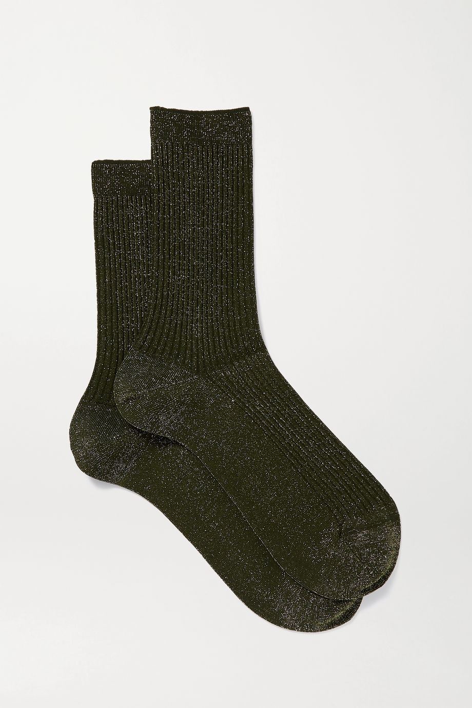 FALKE Metallic ribbed-knit socks