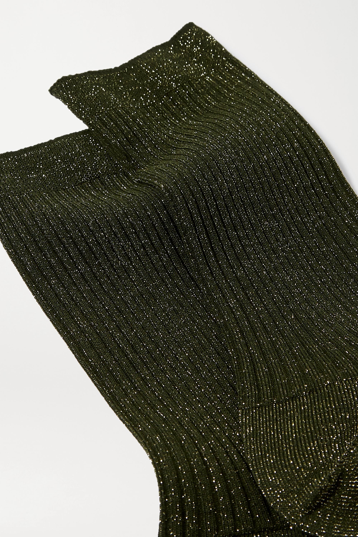 FALKE Metallic ribbed-knit socks