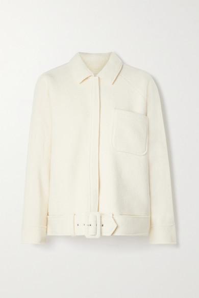 Anine Bing - Jaden Belted Wool-blend Jacket - Off-white