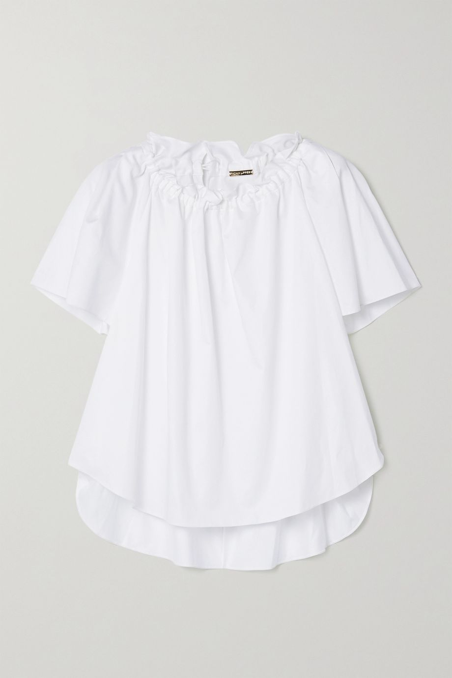 Adam Lippes Gathered cotton-poplin blouse