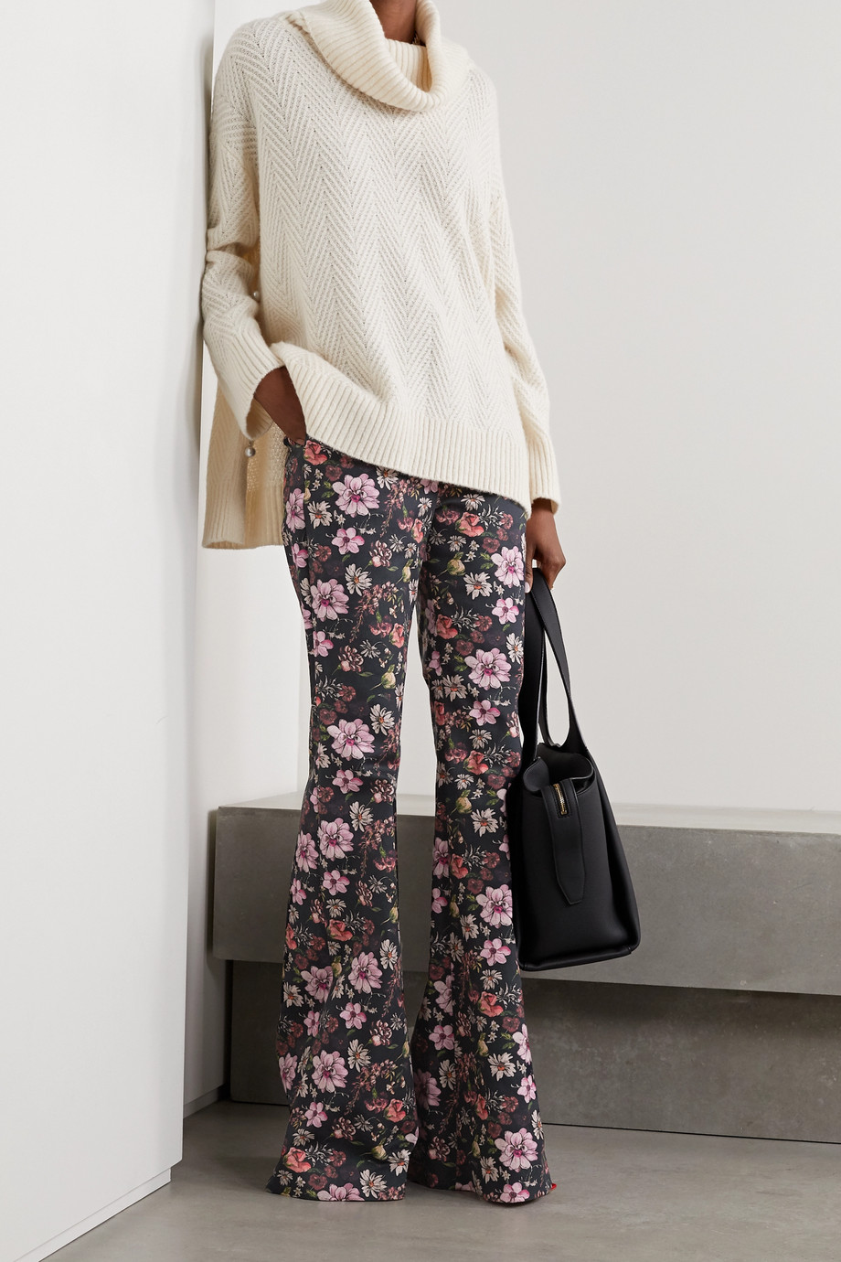 Adam Lippes Floral-print cotton-twill flared pants