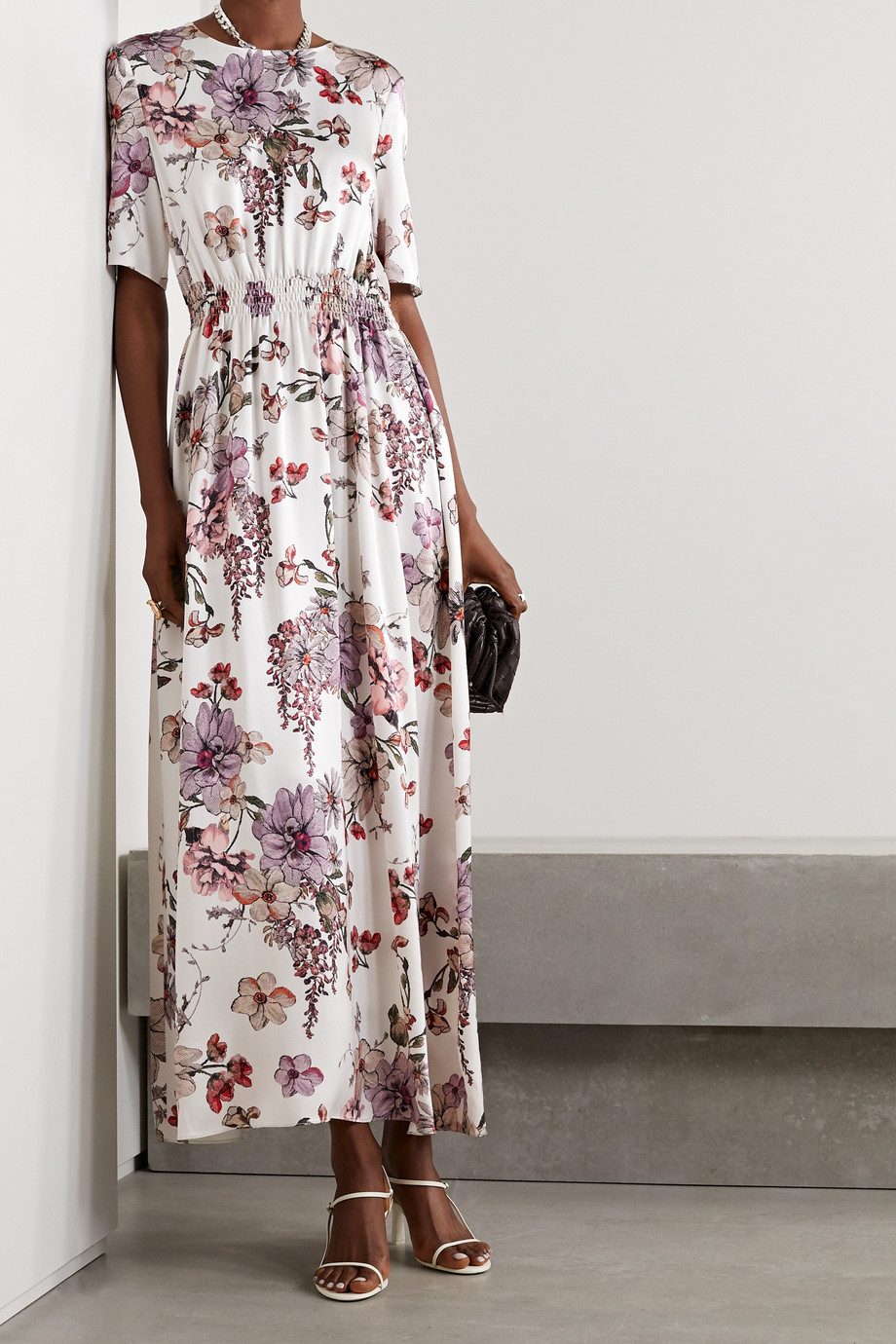Adam Lippes Shirred floral-print silk-satin maxi dress