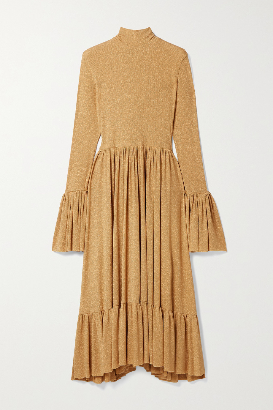 Adam Lippes Ruffled metallic ribbed jersey midi dress