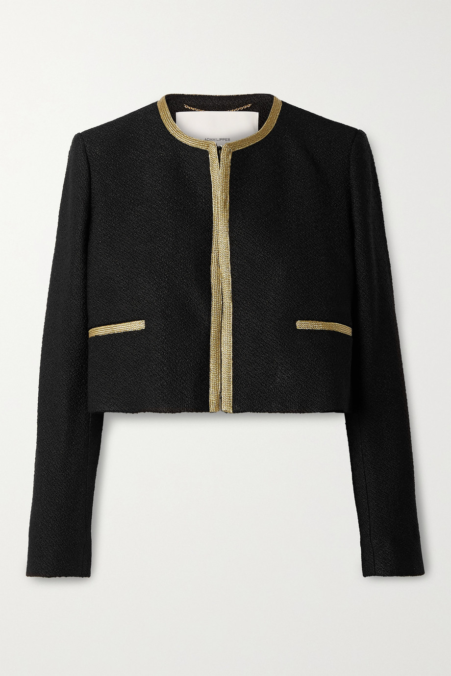 Adam Lippes Cropped metallic-trimmed bouclé jacket