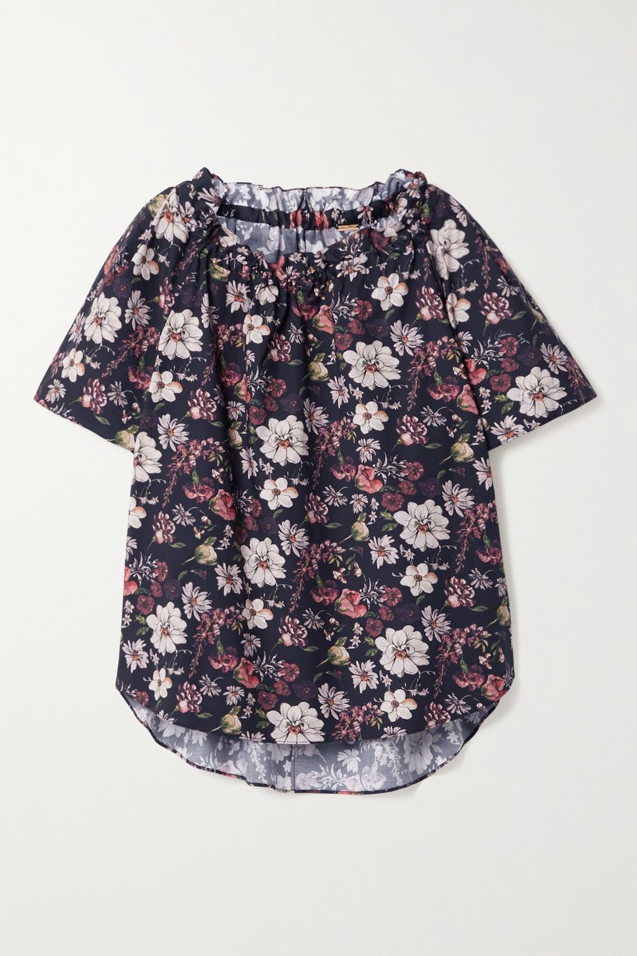 Adam Lippes Ruffled floral-print cotton-blend poplin top