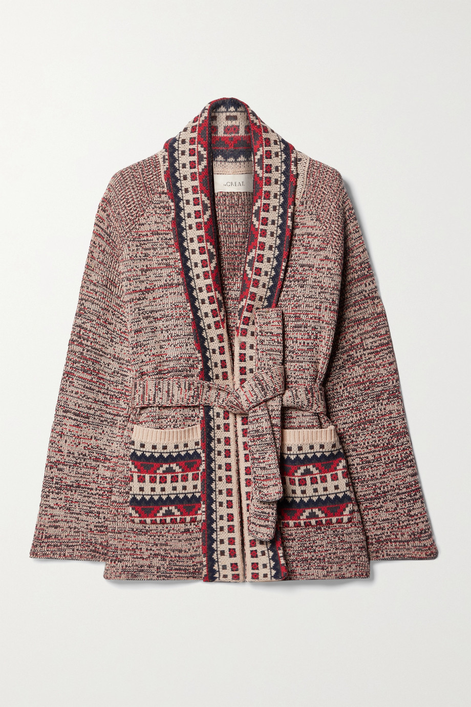 The Great The Riding belted cotton-blend intarsia cardigan