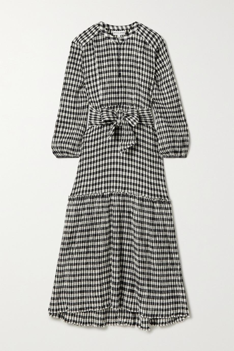 APIECE APART Andreas belted gingham organic cotton-blend seersucker midi dress