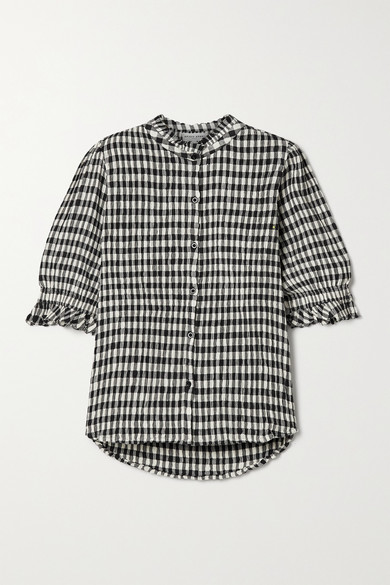 APIECE APART - Los Altos Gingham Organic Cotton-blend Seersucker Top - Black