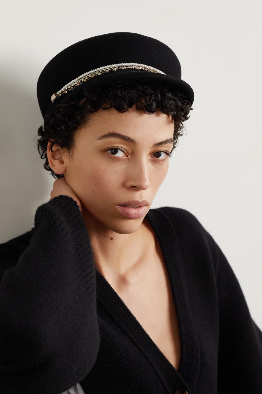 Eugenia Kim Sabrina embellished wool-felt cap