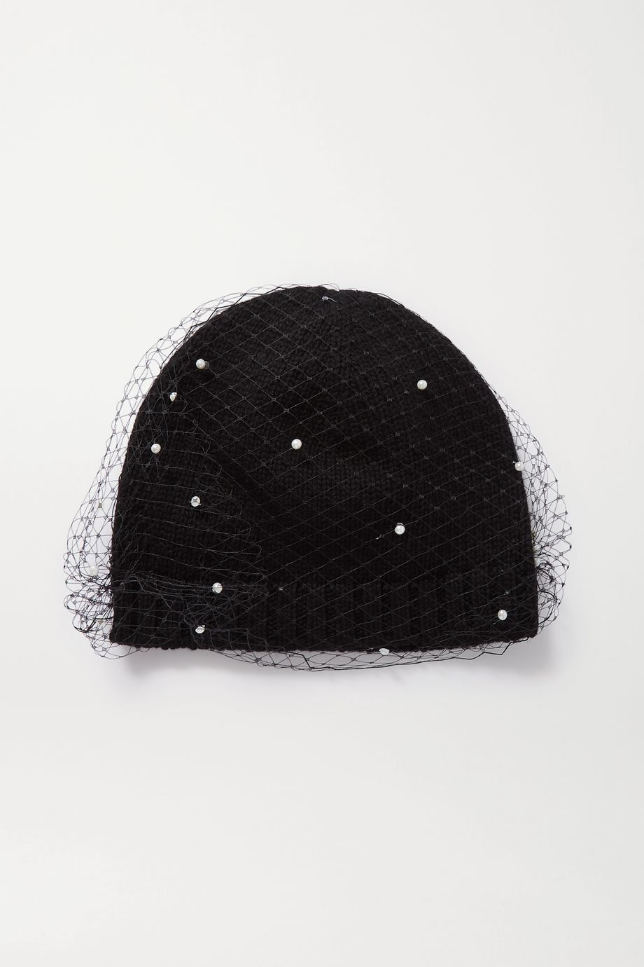 Eugenia Kim Lucinda ribbed-knit and faux pearl-embellished mesh beanie