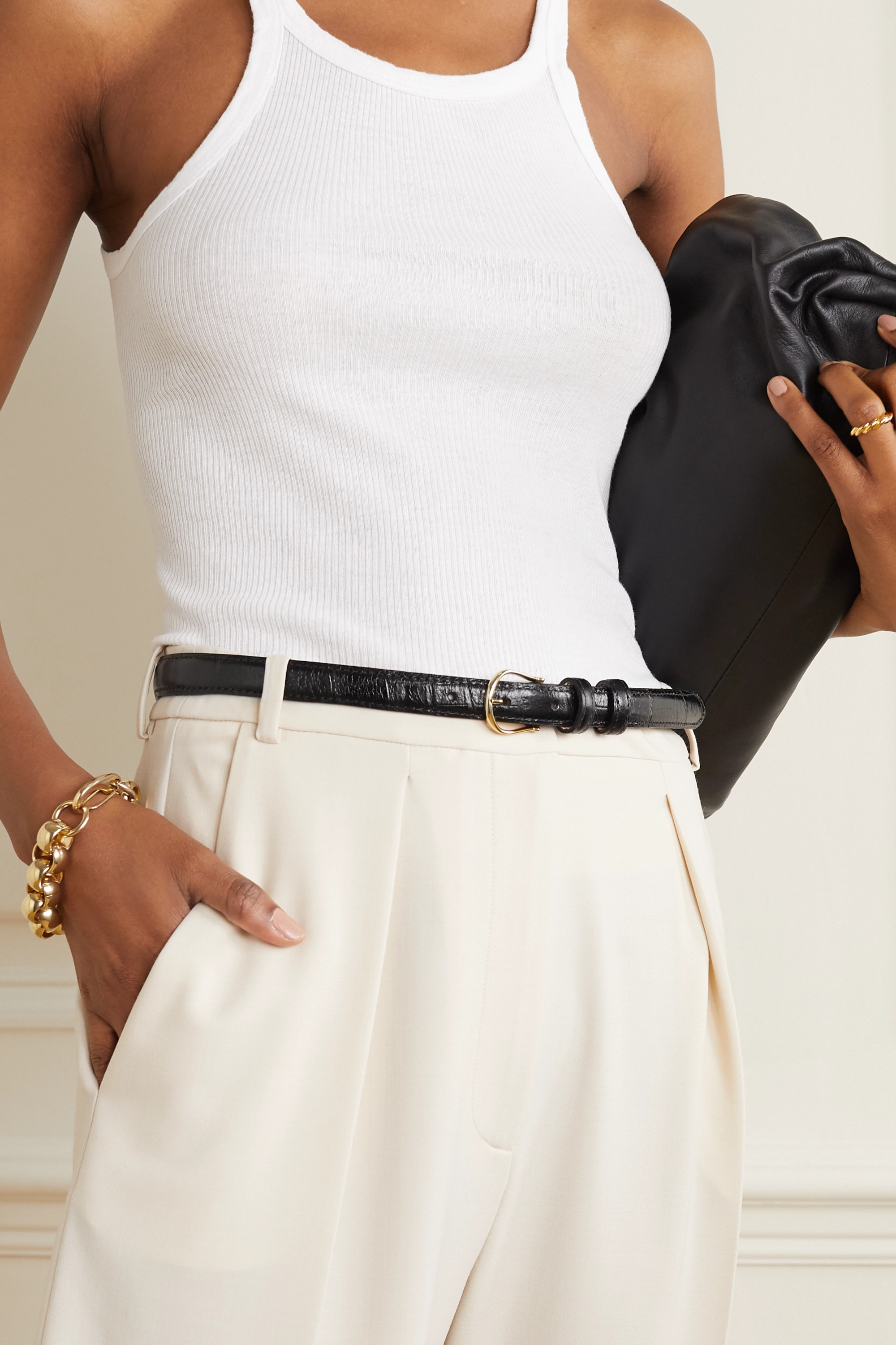Black & Brown + NET SUSTAIN Tess crinkled-leather belt