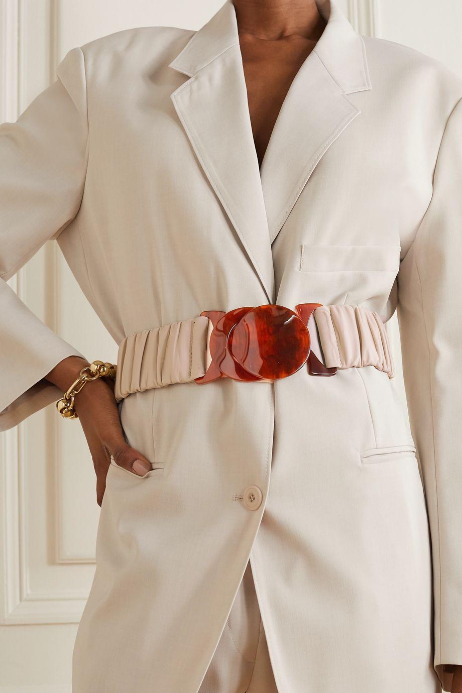 Black & Brown + NET SUSTAIN Jessica ruched leather waist belt