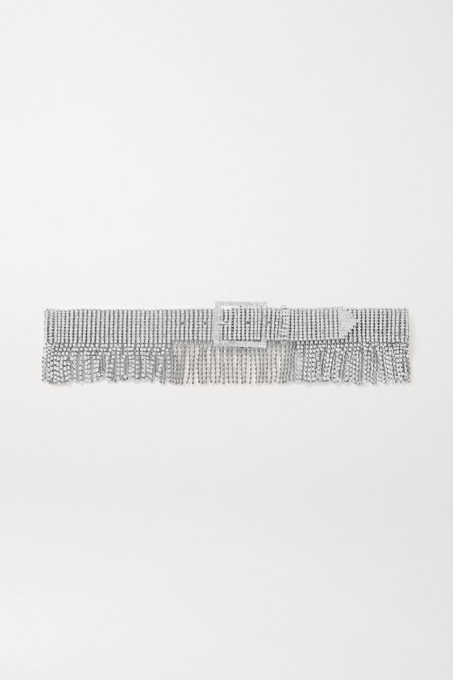 Black & Brown + NET SUSTAIN Silberfarbener Taillengürtel mit Kristallen und Fransen