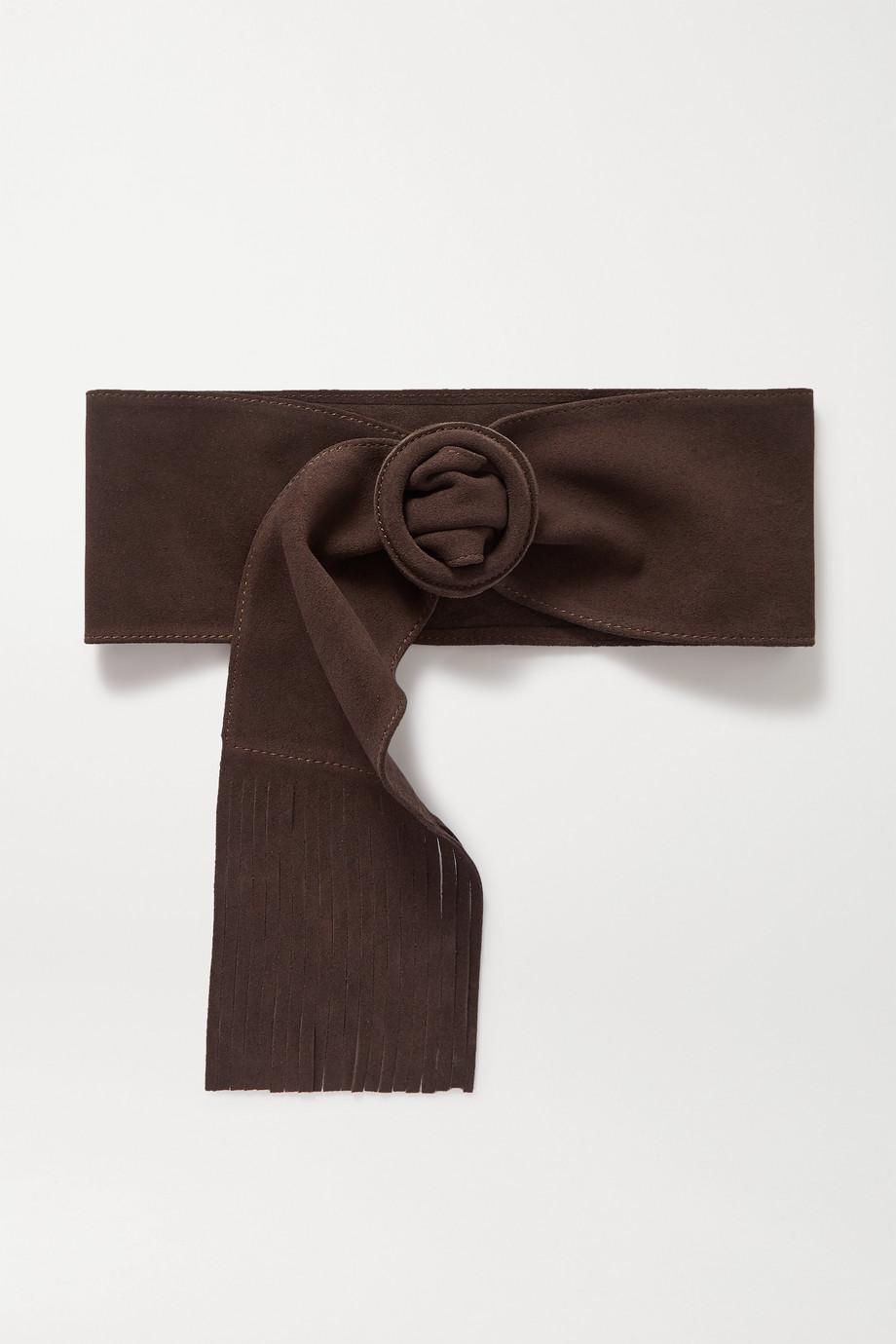Black & Brown + NET SUSTAIN Caitlyn Taillengürtel aus Veloursleder mit Fransen