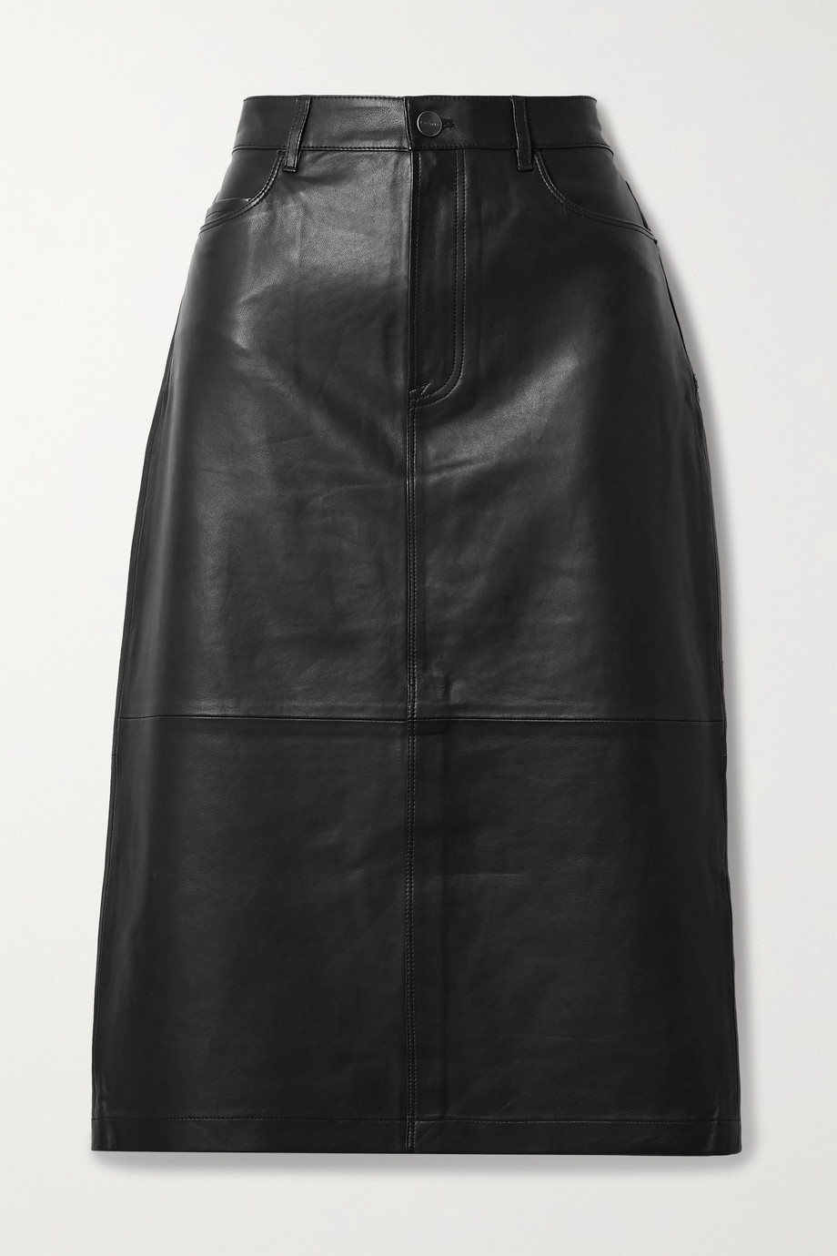 FRAME Leather midi skirt