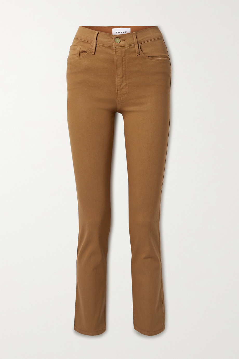 FRAME Le Sylvie cropped coated high-rise straight-leg jeans