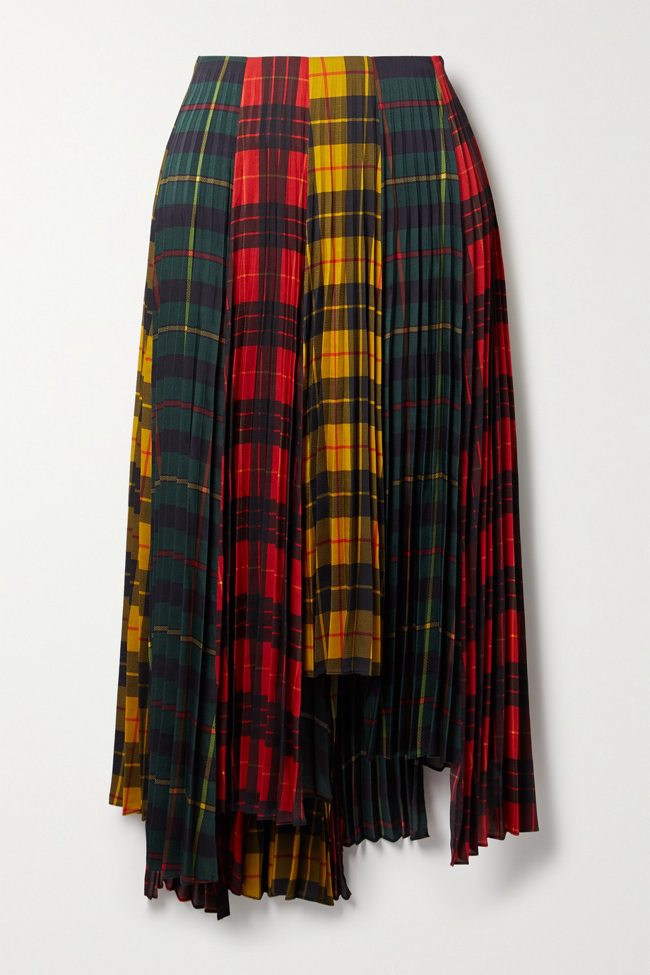 Monse Asymmetric pleated checked twill skirt