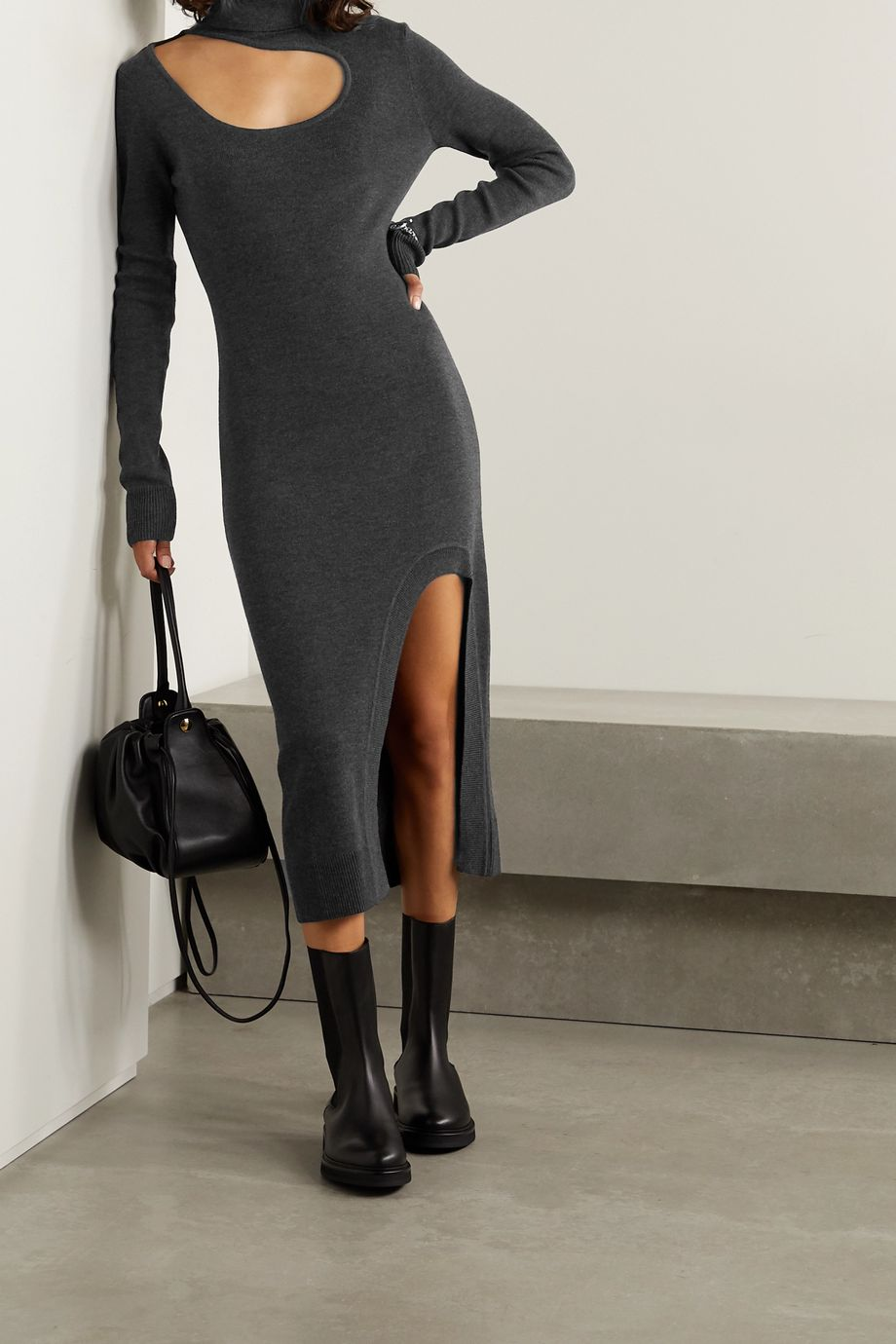 Monse Cutout merino wool turtleneck midi dress