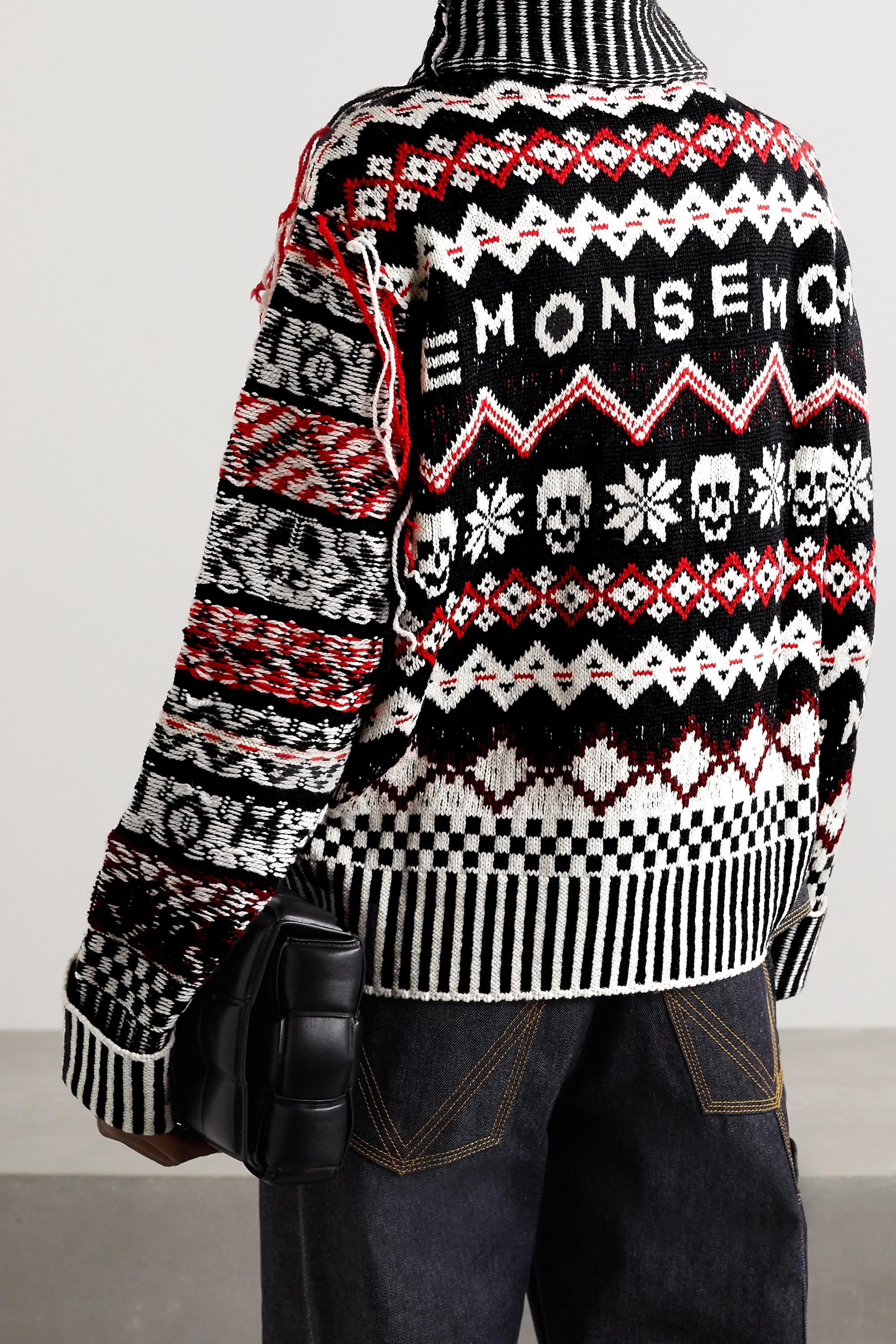 Monse Fringed Fair Isle wool turtleneck sweater