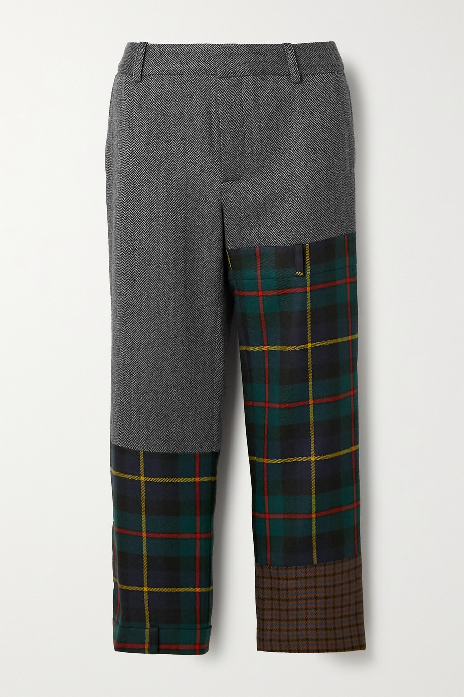 Monse Patchwork wool-blend straight-leg pants