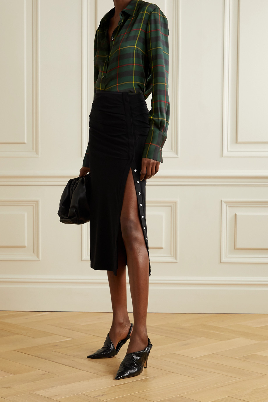 Monse Harris cutout draped tartan satin-twill shirt