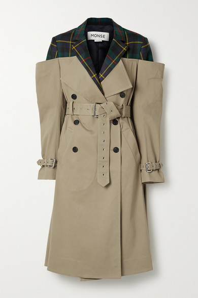 Monse DECONSTRUCTED CHECKED WOOL-TWILL AND COTTON-BLEND GABARDINE TRENCH COAT