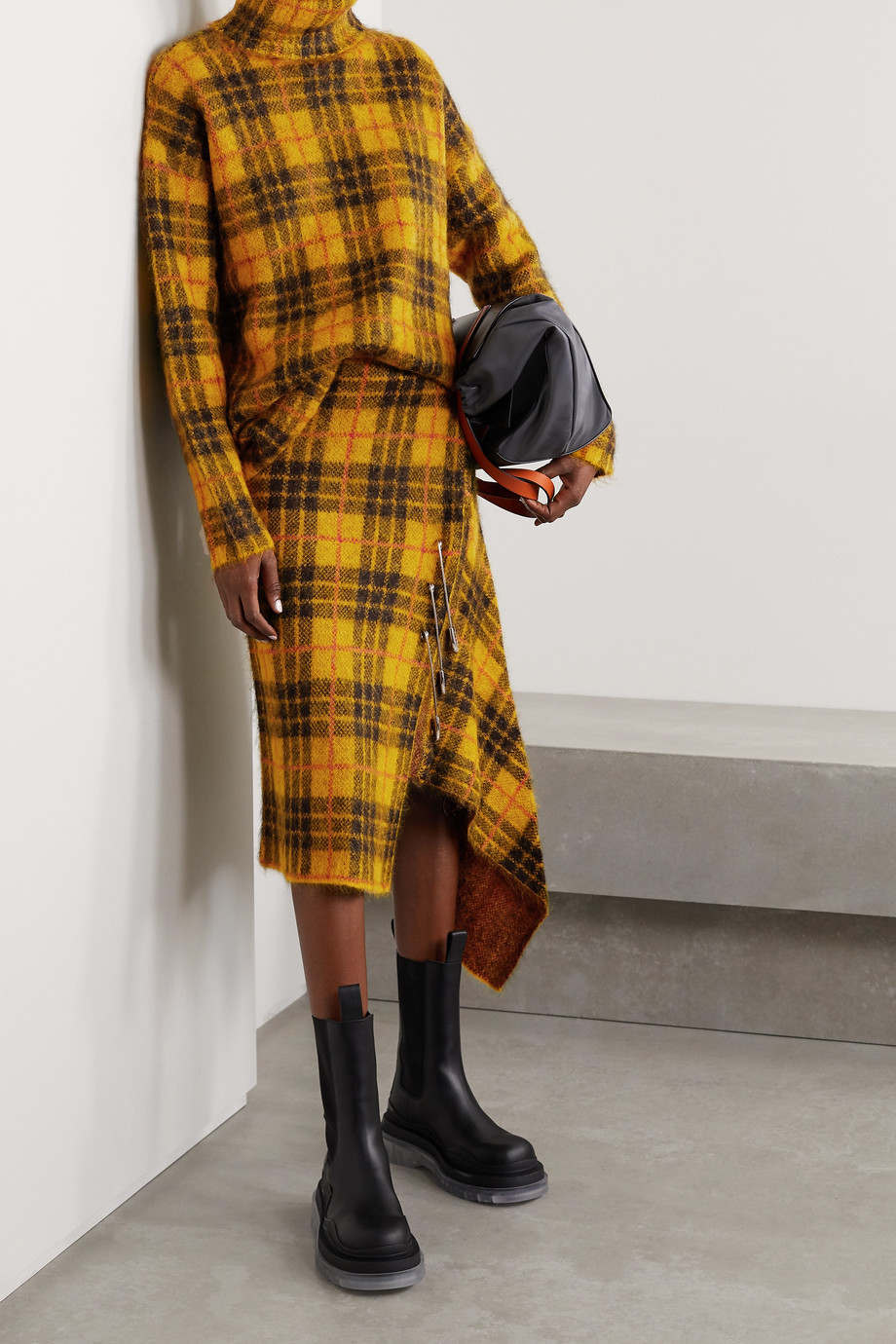 Monse Oversized cutout checked knitted turtleneck sweater