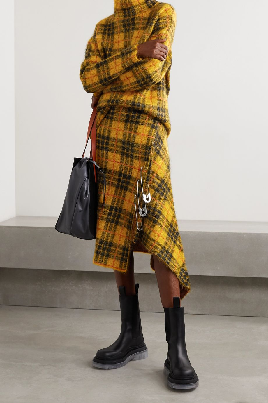 Monse Asymmetric embellished checked knitted skirt