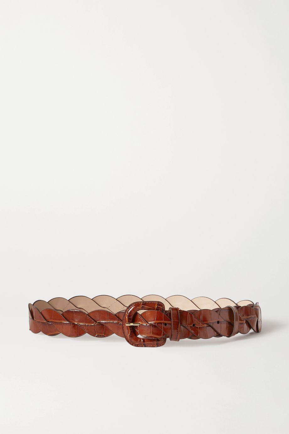 Loeffler Randall Deidre braided croc-effect leather belt