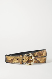 Loeffler Randall Josephine metallic snake-effect leather belt