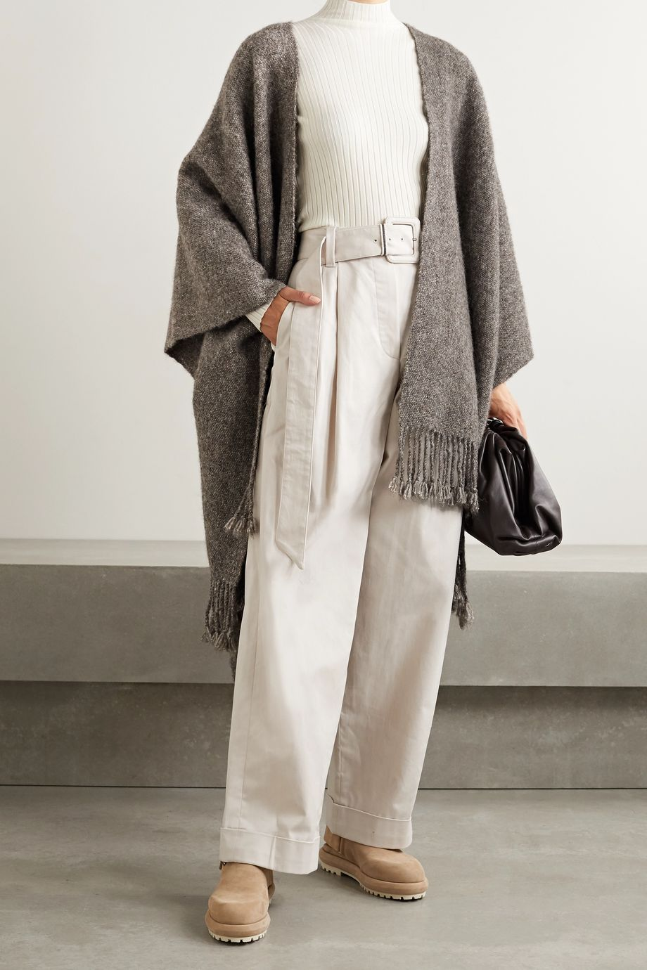 Lauren Manoogian Fringed knitted wrap