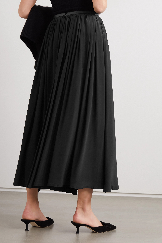 Totême Beja leather-trimmed crepe de chine skirt