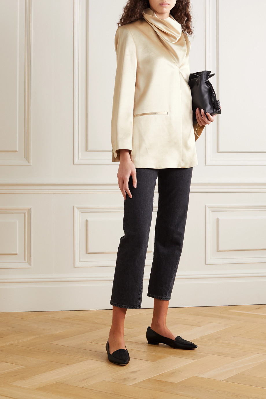 Totême Apremont draped turtleneck satin blazer