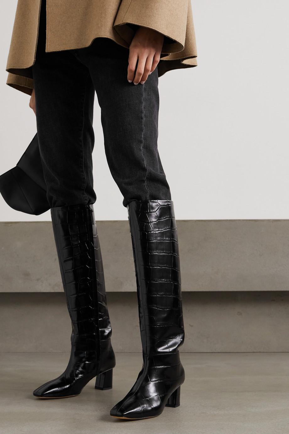 3.1 Phillip Lim Tess kniehohe Stiefel aus Leder mit Krokodileffekt