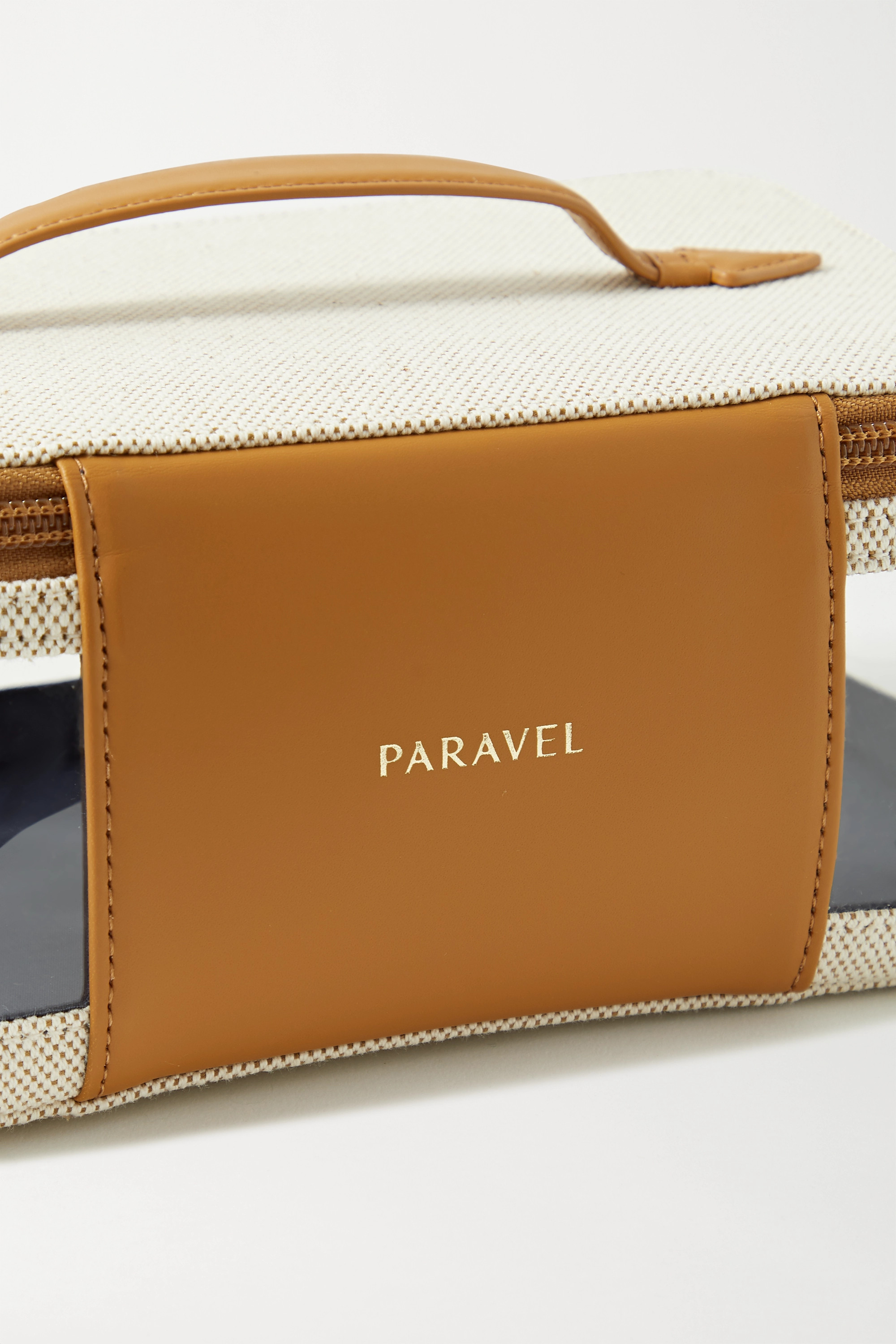 Paravel See-All large leather-trimmed canvas and TPU cosmetics case