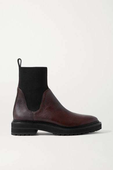 Loeffler Randall BRIDGET TEXTURED-LEATHER AND STRETCH-KNIT CHELSEA BOOTS