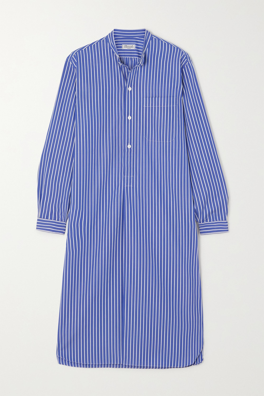 Charvet - Oversized striped cotton-poplin nightdress